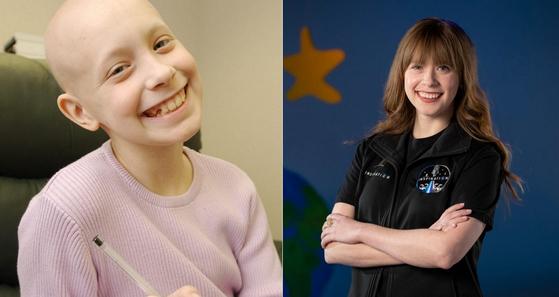 2002년 세인트주드 아동병원에서 암 환자로 투병하던 헤일리 아르세노(왼쪽)가 2021년 스페이스X 로켓을 타고 떠나는 최초의 민간 우주여행 '인스퍼레이션 4' 프로젝트의 승무원으로 발탁됐다. [세인트주드 아동병원]