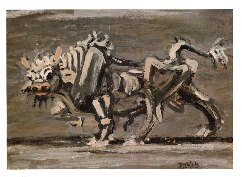 '흰 소' 이중섭, 1954년경. 홍익대학교박물관 소장. [사진 한국민족문화대백과]