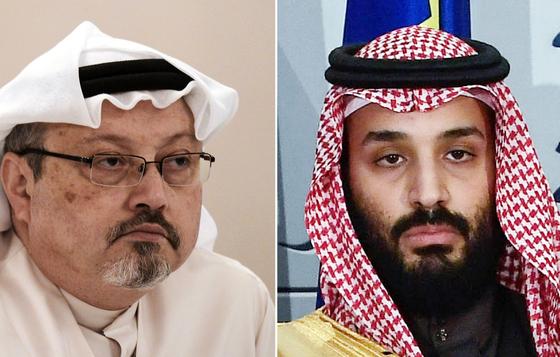 언론인 자말 카슈끄지(왼쪽)와 무함마드 빈 살만 사우디 왕세자. AFP=연합뉴스