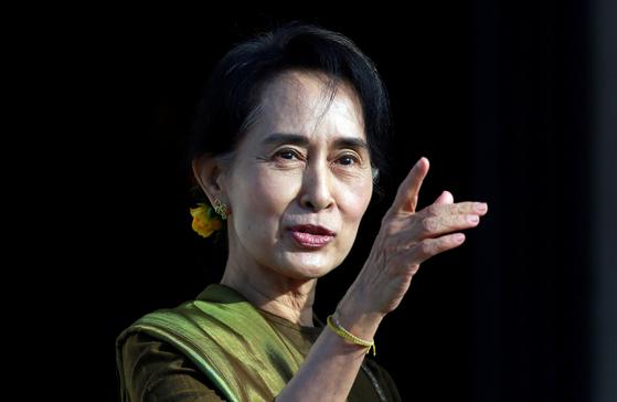 아웅산 수치 미얀마 국가고문. 로이터=연합뉴스