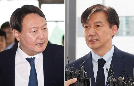 조국 전 법무부장관(오른쪽)과 윤석열 검찰총장. 뉴스1