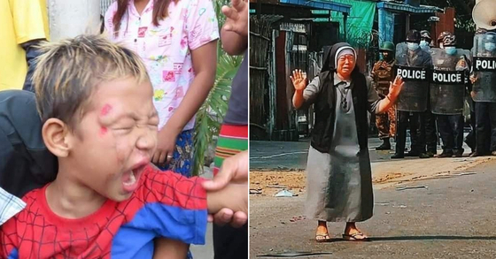 미얀마 군경이 28일(현지시간) 미얀마 전역에서 발생한 시위를 해산하기 위해 실탄을 무차별 발포한 가운데 SNS를 통해 퍼지고 있는 현지 사진들. [SNS 갈무리]