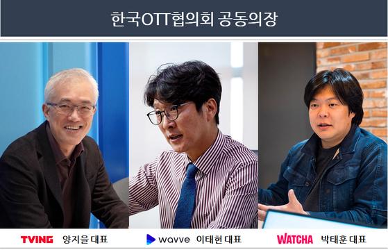OTT협의회 공동 의장을 맡은 티빙 양지을 대표(왼쪽부터), 콘텐츠웨이브 이태현 대표, 왓챠 박태훈 대표. OTT협의회 제공