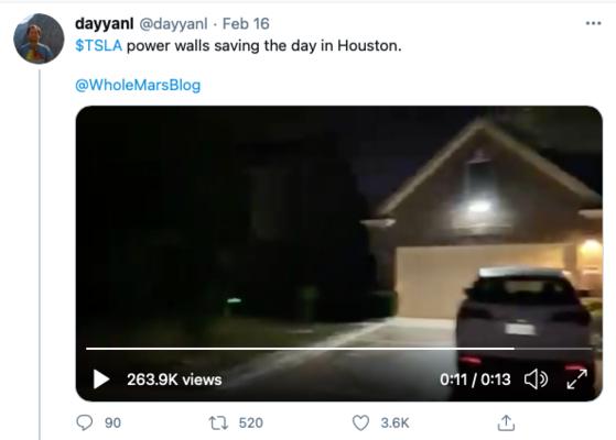미국 텍사스에 찾아온 겨울폭풍으로 대규모 블랙아웃이 발생했지만 가정용 ESS를 설치한 주택은 정전을 피할 수 있었다. [사진 트위터 캡처]