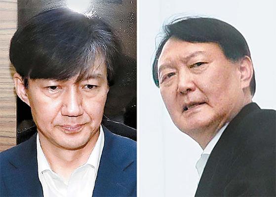 조국 전 법무부 장관(왼쪽)과 윤석열 검찰총장. 임현동 기자, [뉴시스]