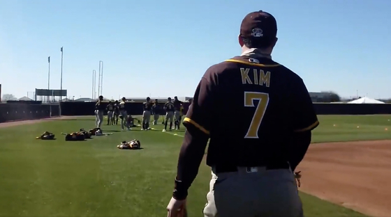 MLB 샌디에이고 캠프에서 훈련하고 있는 김하성 [샌디에이고 구단 트위터 캡처]