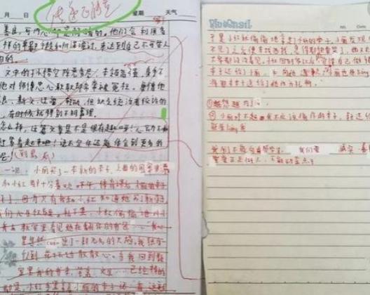먀오의 작문 숙제에 교사가 크게 가위표를 쳐 놓았다. [차이나 데일리]