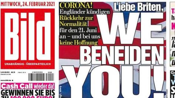 독일 빌트지가 지난달 24일 1면 톱으로 독일의 지지부진한 백신 상황을 정리하며 ″영국인 여러분, 우리는 당신이 부럽습니다!″라는 제목의 기사를 게재했다. [빌트지 갈무리]