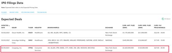 뉴욕증권거래소 게시판에 공지된 쿠팡 기업공개(IPO) 예정일.  [NYSE 캡처]