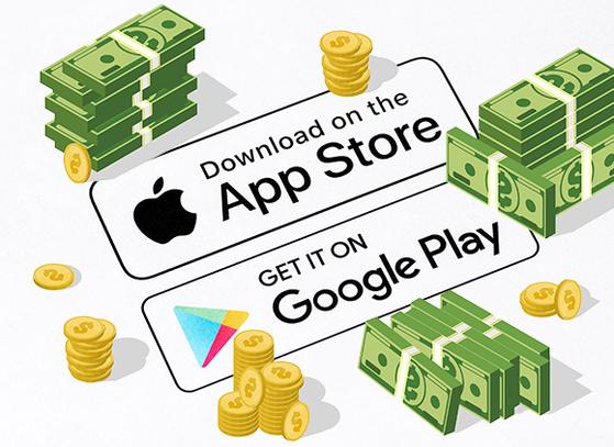 애플 앱스토어와 구글 플레이스토어. 사진=셔터스톡, 그래픽=정원엽 기자
