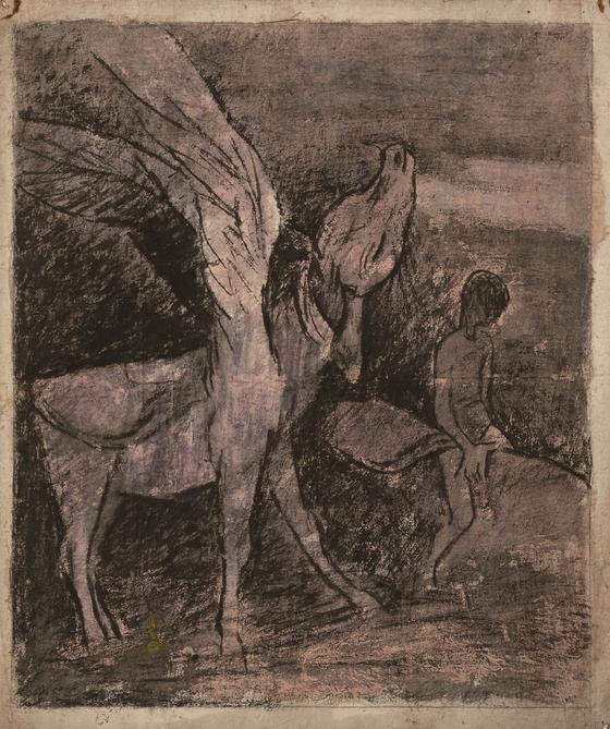 소와 아이들을 집중적으로 그린 화가 진환의 '날개 달린 소와 소년'(1940년대). [사진 국립현대미술관]
