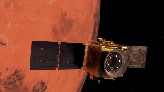 UAE가 공개한 화성 탐사선 '아말'이 화성 궤도를 도는 일러스트. 사진 MBRSC