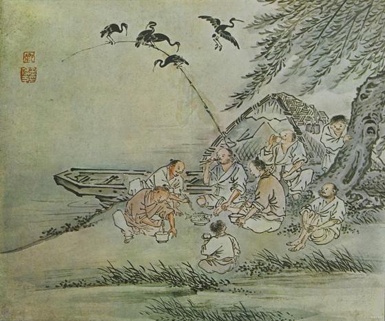 풍속화가 김득신(1754~1822)의 '천렵도'(川獵圖). 어른과 아이가 함께 물고기를 놓고 젓가락질을 하고 있다. 고된 일상을 잠시 잊고 여유를 즐기는 듯하다. 이렇듯 강이나 산은 누구나 이용하는 곳이었다. [사진 간송미술관]