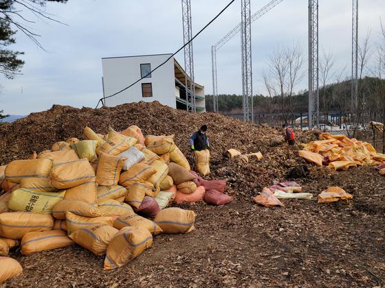 충북 제천시 신월동에 있는 제천산림조합 부지 내 수매장에 낙엽이 쌓여있다. [사진 제천시]