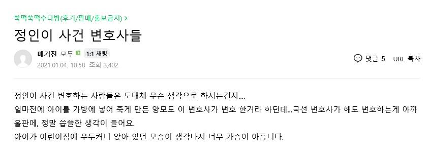 정인이 사건을 변호하는 변호사들에 분노한 누리꾼. [게시글 화면 캡쳐]