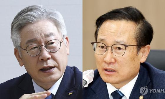 이재명 경기지사(왼쪽)과 홍영표 의원. 연합뉴스