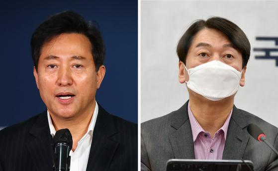 국민의힘 오세훈 서울시장 후보(왼쪽)와 국민의당 안철수 후보. 연합뉴스