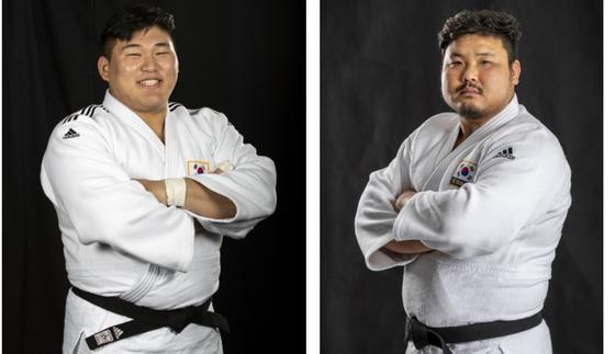 김민종(왼쪽)과 김성민은 한국 무제한급 유도 최초로 그랜드슬램 대회에서 동시 입상했다. [사진 IJF]