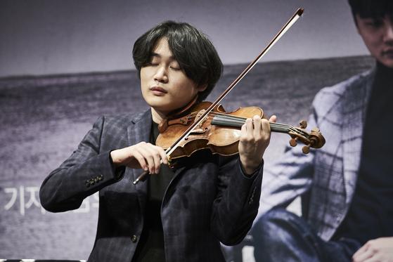 바이올리니스트 양인모의 두 번째 음반 출시를 알리는 기자 간담회가 9일 서울 신사동 오드포트에서 열렸다. [사진 유니버설 뮤직]