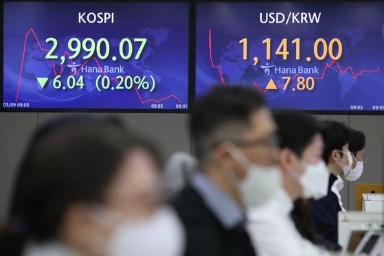 코스피가 하락 출발한 9일 오전 서울 중구 하나은행 본점 딜링룸에서 딜러들이 업무를 보고 있다. 연합뉴스