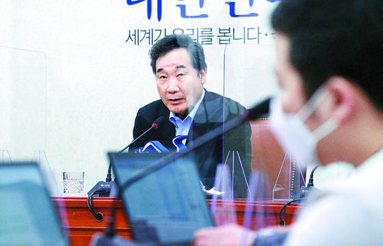 이낙연 더불어민주당 대표가 9일 오후 국회에서 퇴임 기자회견을 하고 있다. 오종택 기자
