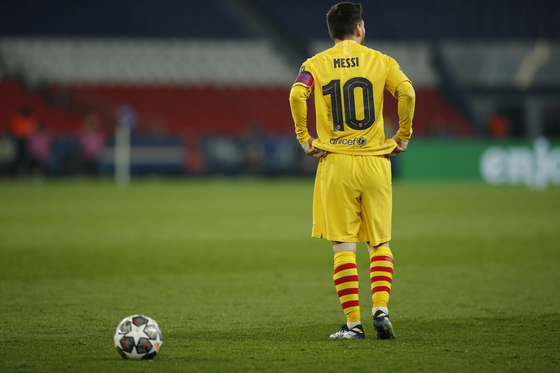 에이스 메시의 부진 속에 소속팀 바르셀로나가 챔피언스리그 8강 진출에 실패했다. [EPA=연합뉴스]