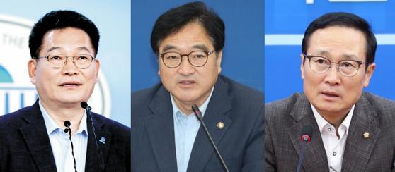송영길 의원(왼쪽부터)과 우원식 의원, 홍영표 의원은 최근 더불어민주당 당대표 선거 출마의사를 밝히며 치열한 물밑 경쟁에 돌입했다. 민주당 당대표 선거는 오는 5월 초 열릴 예정이다. 중앙포토
