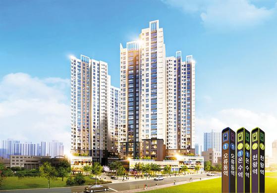 서울 부동산 시장의 새로운 투자 핫플레이스로 떠오르고 있는 서울 서남권에 공급 중인 포레니스 투시도. 청약통장 없이 조합원 가입이 가능한데다 시세차익까지 기대할 수 있어 실수요자는 물론 투자자의 관심을 끈다.