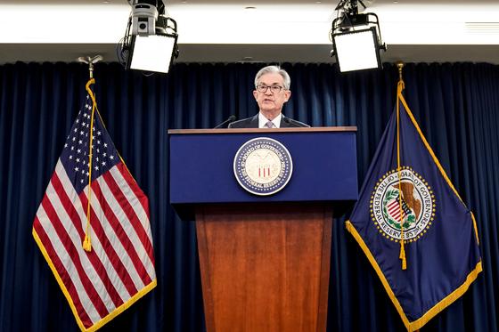 지난해 12월 제롬 파월 미국 연방준비제도(Fed) 의장이 연방공개시장위원회(FOMC)가 끝나고 기자회견을 갖고 있다. [로이터=연합뉴스]