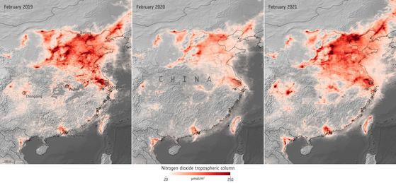 왼쪽부터 2019년 2월과 2020년 2월, 올해 2월의 중국 이산화질소 평균 농도. 붉은색이 진할수록 농도가 높다는 뜻이다. 유럽우주국