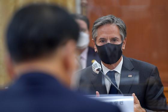 토니 블링컨 미 국무장관이 17일 오후 서울 종로구 외교부에서 열린 한미 외교장관회담에서 모두발언을 하고 있다. 뉴스1