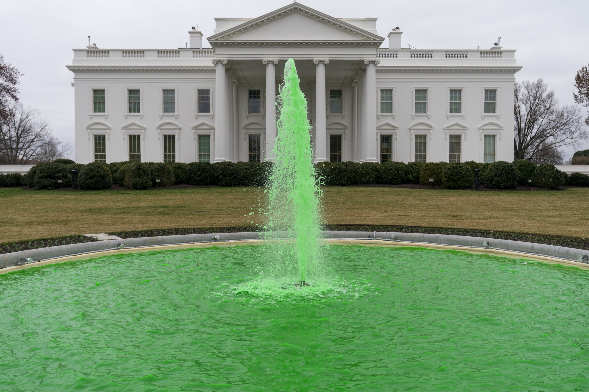 17일 성 패트릭의 날을 맞아 미국 백악관 북쪽 분수가 아일랜드를 상징하는 녹색으로 물들었다. AP=연합뉴스