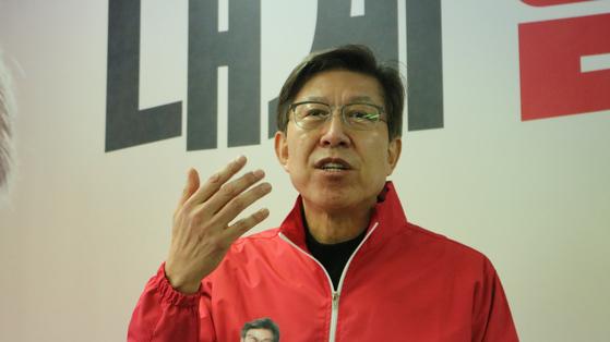 박형준 국민의힘 부산시장 후보가 19일 오전 10시 선거사무실에서 엘시티 관련 기자회견을 하고 있다. 이은지 기자