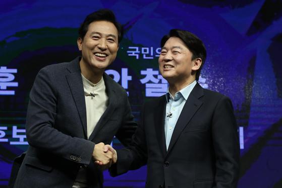 4·7 서울시장 보궐선거에 나선 오세훈(왼쪽) 국민의힘 후보와 안철수 국민의당 후보. 오종택 기자