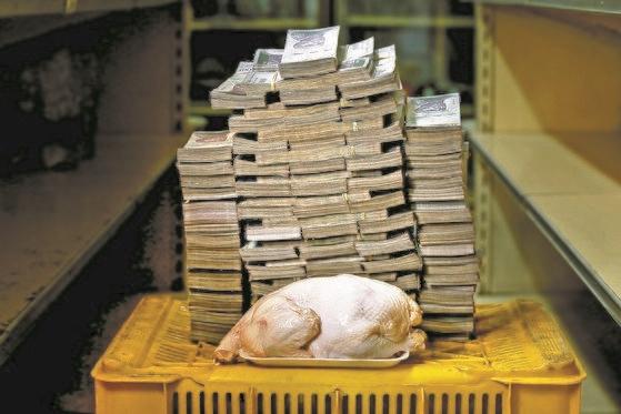 카라카스의 한 상점에서 2018년 8월 2.4㎏짜리 생닭 한 마리가 1460만 볼리바르(약 2500원)에 거래됐다. 베네수엘라의 초인플레이션을 보여주는 상징적인 사진이다. [로이터=연합뉴스]
