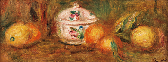피에르 오귀스트 르누아르 , Still Life with Compote, oil on canvas, 16x41.5cm, 1억 2 000 ~2 억원.[사진 서울옥션]