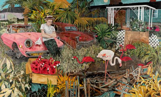 미국 마이애미 출신의 쿠바계 작가 헤르난 바스의 그림엔 소년이 주인공으로 등장한다. '분홍 플라스틱 가짜 미끼 새'(303.5x504.8㎝). [사진 스페이스K]