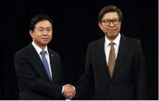 김영춘 더불어민주당 후보(왼쪽)와 박형준 국민의힘 후보. [연합뉴스]