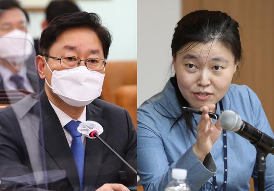 박범계 법무부장관(왼쪽)과 임은정 대검 감찰정책연구원(부장검사). 연합뉴스
