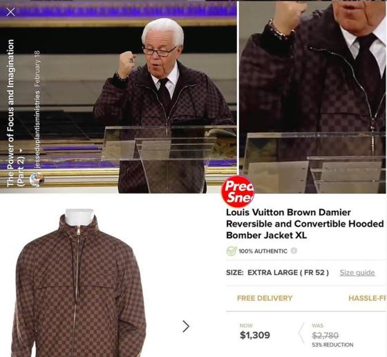 갈색 루이비통 재킷을 입은 성직자의 모습. 그의 재킷은 할인가로도 1309달러(147만원)이다. [인스타그램]