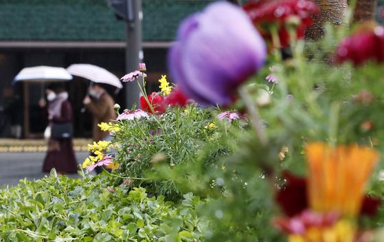 봄비가 내리는 20일 서울시청 인근에서 시민들이 우산을 쓰고 발걸음을 옮기고 있다. 뉴시스