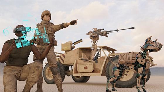 미국 육군이 인공지능(AI)을 탑재한 로봇 전투병과 인간 전투병이 함께 작전하는 가상 이미지[미 육군]