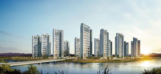 최근 집값이 급등한 인천 검단신도시에 선보일 예정인 검단신도시 우미린 파크뷰 투시도.