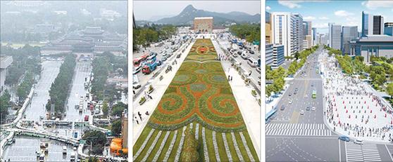2008년까지 서울 세종대로에 광장이 없었다(왼쪽). 2009년 8월 광화문광장이 조성됐고(가운데), 서울시는 이를 다시 고치는 수정안(오른쪽)을 추진 중이다. 새로운 서울 시장 선출을 앞두고 서울시가 광화문광장 공사에 들어가 논란이 되고 있다. [중앙포토]