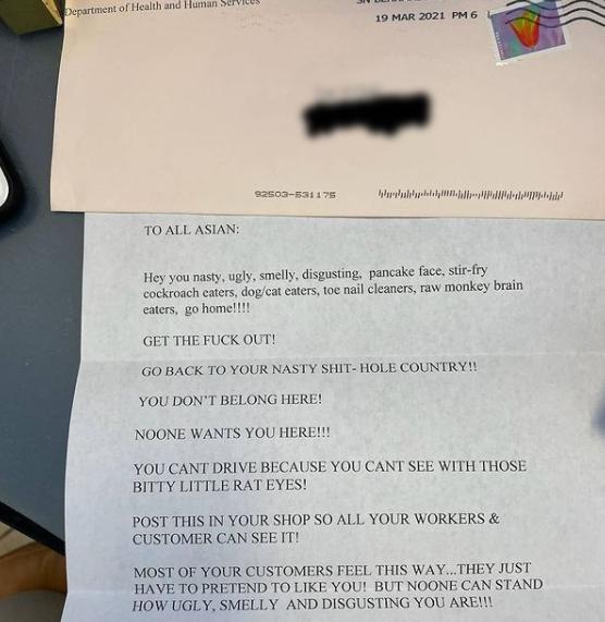 """""""한명 덜 아시아 인, 미국을 떠나라""""… 남편 장례식 당일받은 증오 편지"""