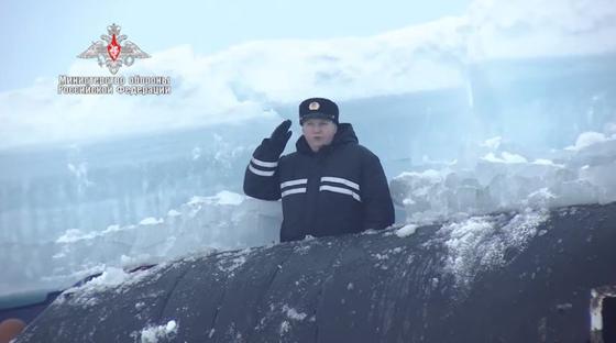 러시아 국방부 유튜브에 공개된 러시아 해군 북극해 훈련모습. 인터넷 캡처