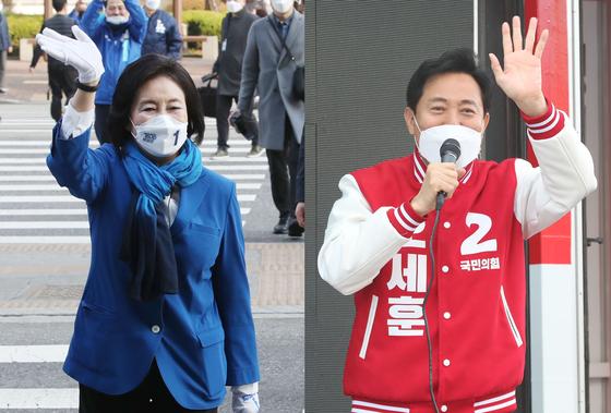 서울시장 재보궐선거에 출마한 박영선(왼쪽) 더불어민주당 후보와 오세훈 국민의힘 후보가 25일 오전 구로역과 응암역에서 각각 선거 유세를 하며 지지를 호소하고 있다. [뉴시스]