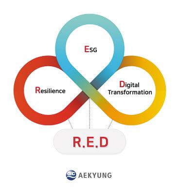애경그룹은 포스트 코로나 시대를 주도하기 위해 주목해야 할 핵심 키워드로 'Resilience' 'ESG' 'Digital Transformation'을 선정하고 'RED 경영'을 선포했다. [사진 애경그룹]