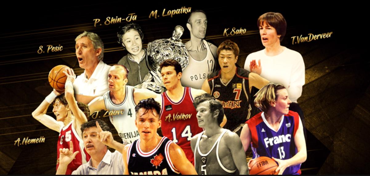 박신자(윗줄줄 왼쪽 둘째)가 FIBA 명예의 전당 선수 부문에 헌액됐다. [사진 FIBA]
