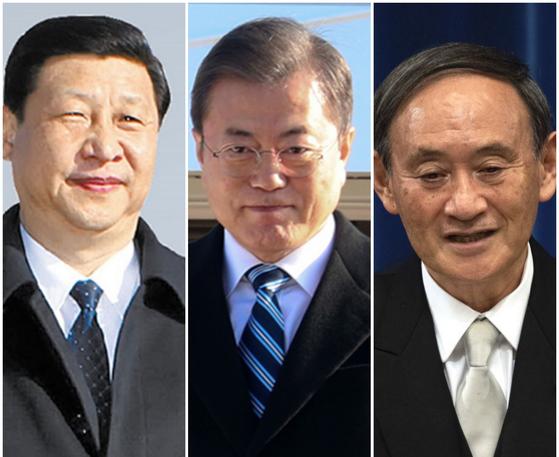 한·중·일 정상. 왼쪽부터 시진핑 중국 국가주석, 문재인 대통령, 스가 요시히데 일본 총리. 중앙포토